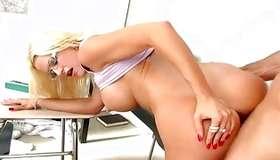 Breasty blondie is drilled cruelly on her thin cunt