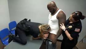 Crazy bitches in police uniform swallowing pitch-black dick