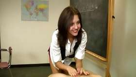 Nice-looking brunette adore is a dick strocking a colossal switch of her man