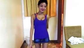 Asian hot whore is jerking her mischievous damp crack