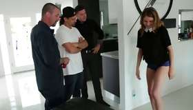 Wee cleaning beauty obtains team-fucked by 3 men xxx