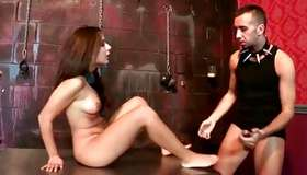 Charming brunette is agreeing her back hole to be toyfucked