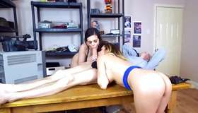 Sexual bright-haired and sexual brunette have invited their that fellow for ffm