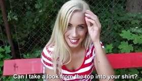 Blonde nude harlot is showing juicy boobs