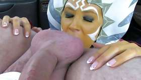 Ill-mannered doxy sucking on massive balls