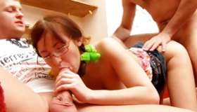 Geeky babe riding a massive sweetmeat as long as swallowing a massive hard sweetmeat