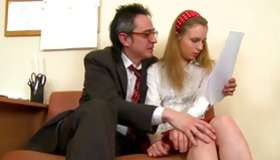 Light-haired messy skank is getting her seduced by a debauched man
